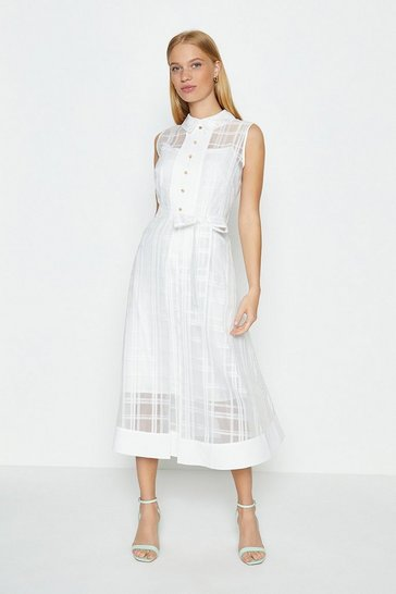 Ivory Check Organza Shirt Dress