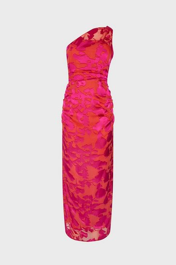 Pink One Shoulder Column Maxi Dress