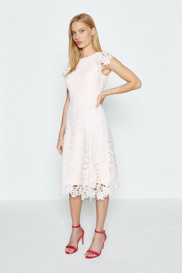 Blush Lace Angel Sleeve Dress