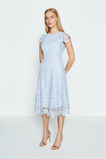 Ice blue Lace Angel Sleeve Dress