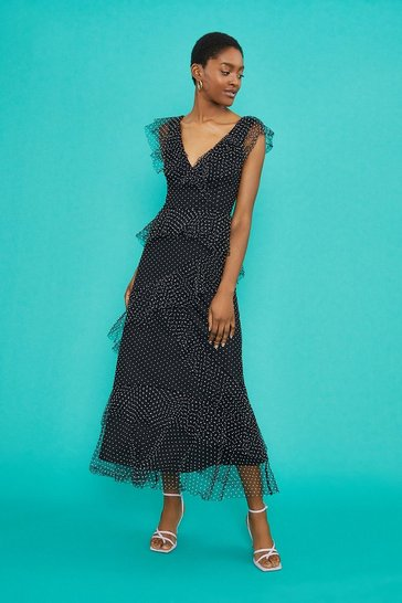 Black Spot Mesh Ruffle Midi Dress