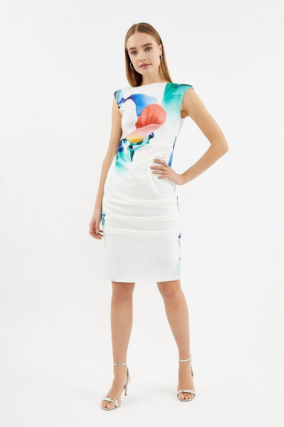 White Floral Scuba Ruched Shift Dress