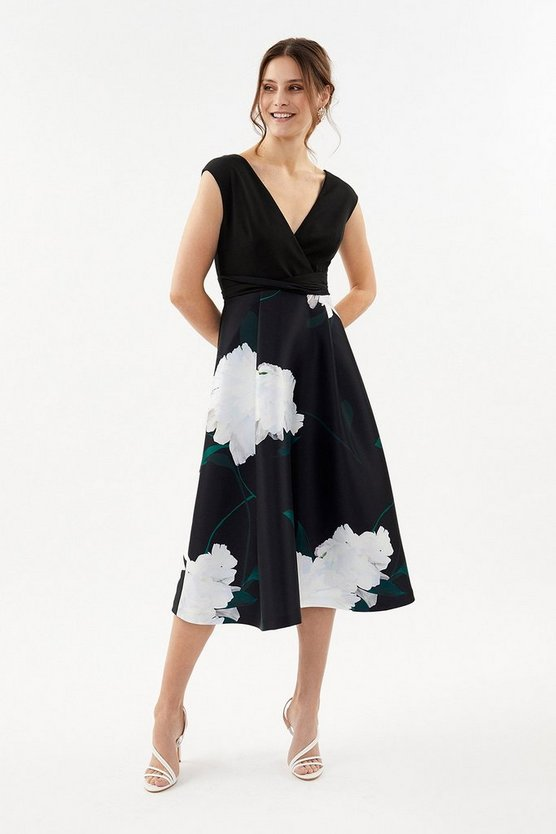 Black Printed Wrap Full Skirt Midi Dress