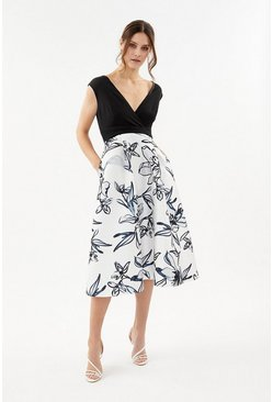 Ivory Printed Wrap Full Skirt Midi Dress