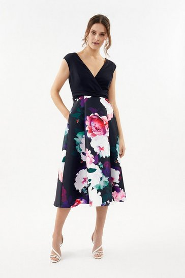 Navy Printed Wrap Full Skirt Midi Dress