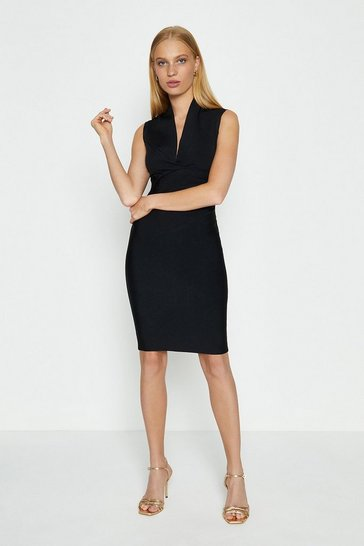 Black V Neck Tuck Dress