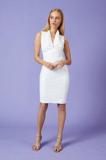 Ivory V Neck Tuck Dress