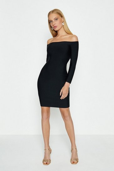 Black Sleeved Bardot Dress