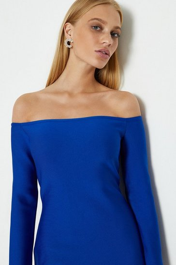 Cobalt Sleeved Bardot Dress