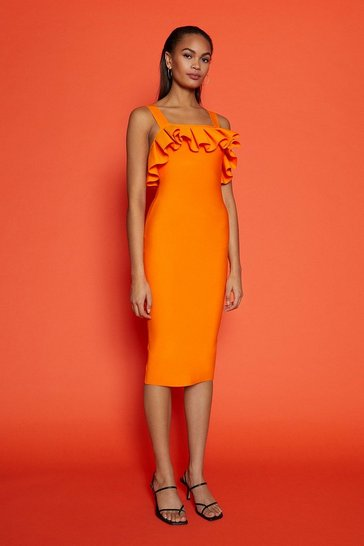 Orange Strap Ruffle Bardot Dress