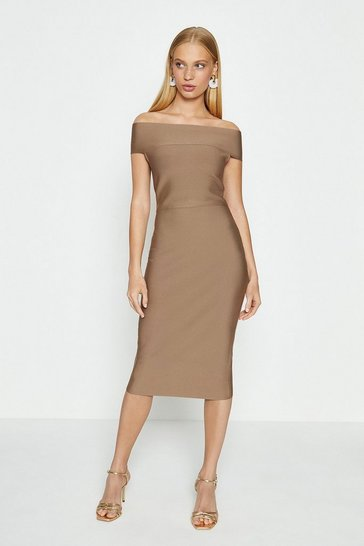 Mocha Bardot Shift Dress