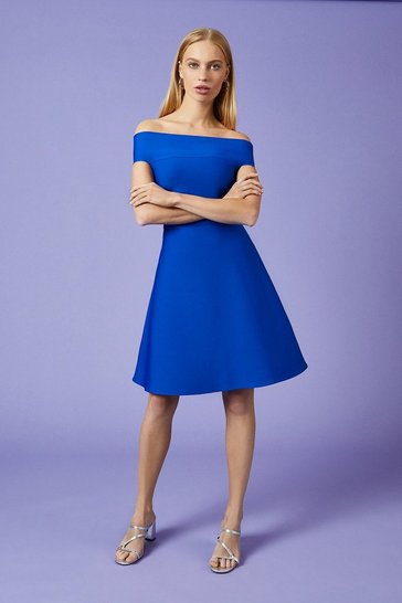 Cobalt Knitted Bardot Skater Dress