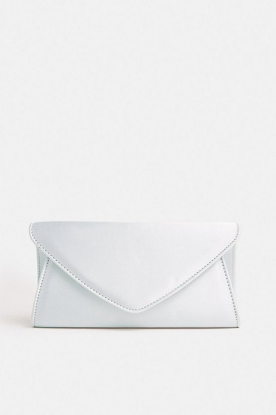 Silver Satin Envelope Clutch Bag