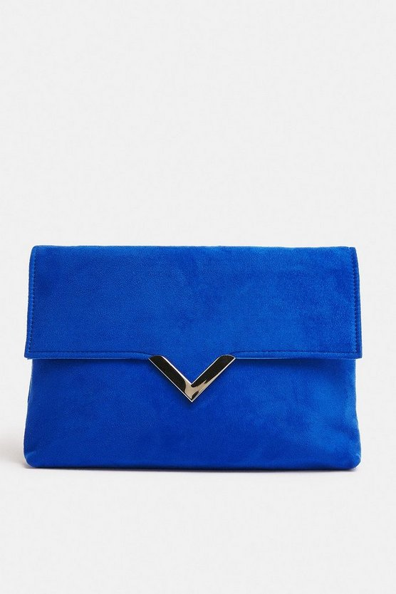 Blue V Hardware Detail Clutch Bag