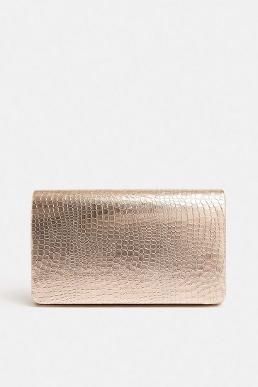 Rose gold Metallic Embossed Clutch Bag