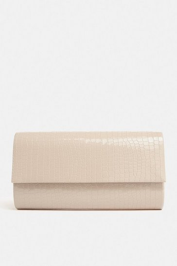 Nude Patent Embossed Clutch Bag