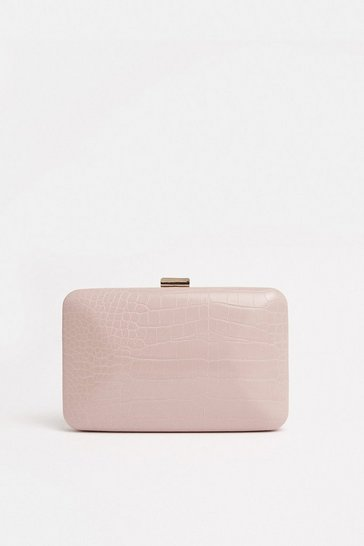 Nude Embossed Box Bag