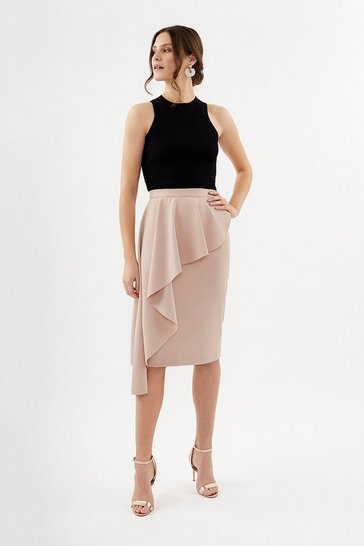 Blush Drape Detail Pencil Skirt