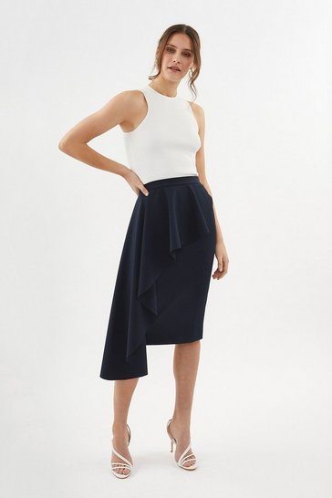 Navy Drape Detail Pencil Skirt