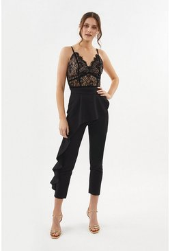 Black Ruffle Detail Slim Leg Trouser