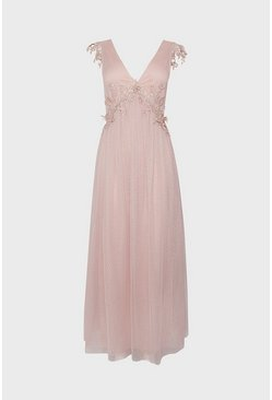 Blush V-Neck Spot Mesh Lace Maxi Dress