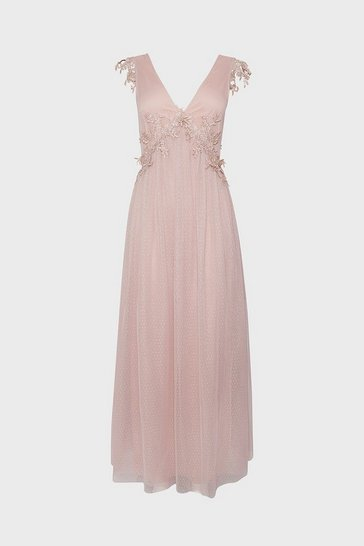 Blush Spot Mesh Lace Detail V Neck Maxi