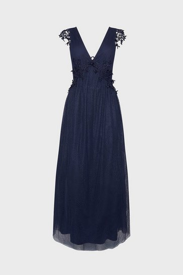 Navy Spot Mesh Lace Detail V Neck Maxi