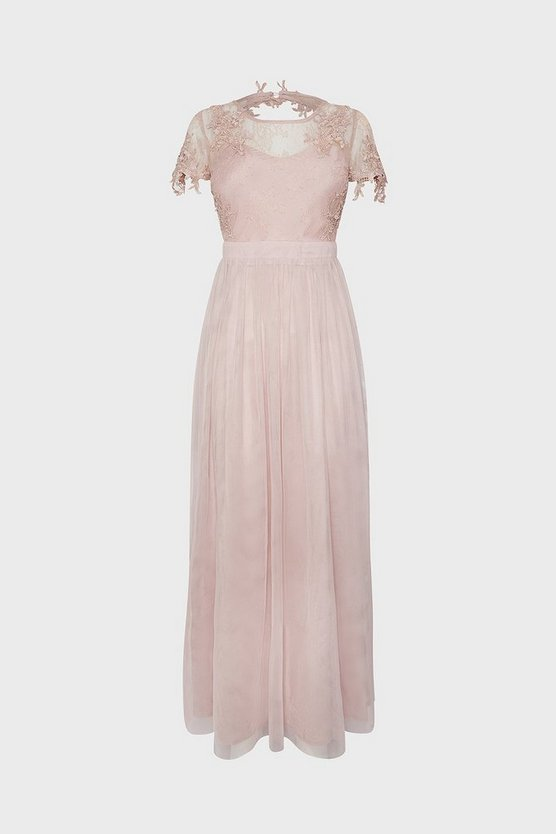 Blush Short Sleeve Lace Yoke Mesh Maxi Dress