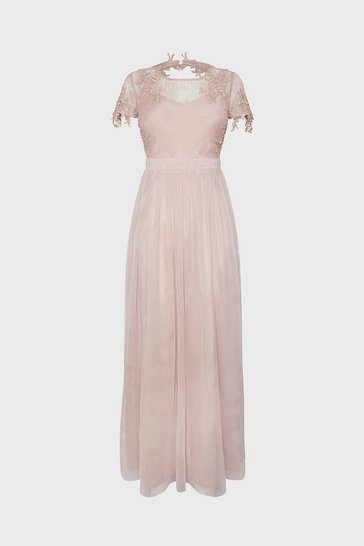 Blush Lace Yoke Mesh Maxi Dress