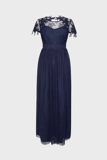Navy Short Sleeve Lace Yoke Mesh Maxi Dress