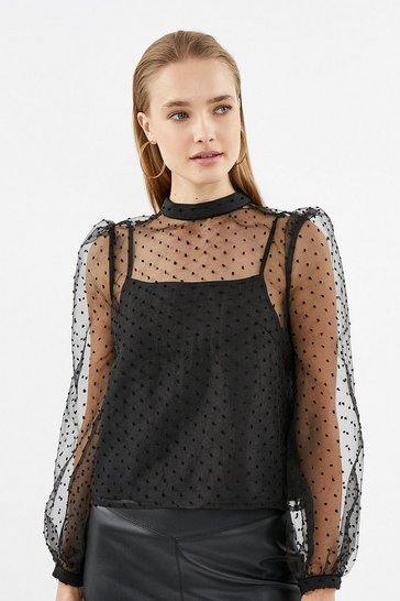 Black Polkadot Mesh Sleeve Blouse