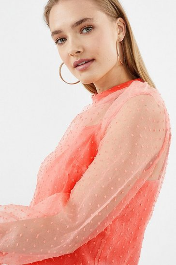 Coral Long Sleeve Polkadot Mesh Blouse