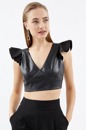Black Faux Leather Ruffle Crop Top