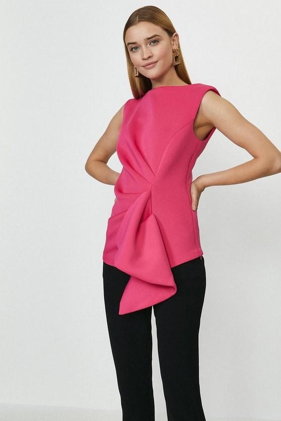 Hot pink Scuba Ruffle Top