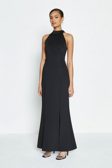 Black Halter Neck Scuba Maxi Dress