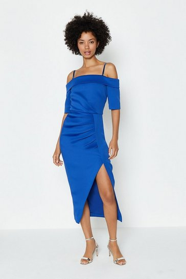 Cobalt Scuba Wrap Hem Midi Dress
