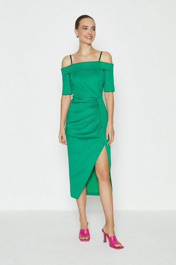 Green Scuba Wrap Hem Midi Dress