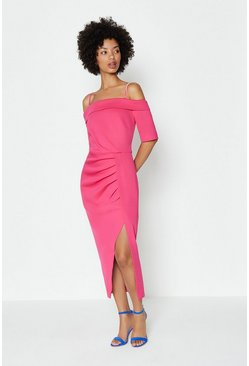 Hot pink Scuba Wrap Hem Midi Dress