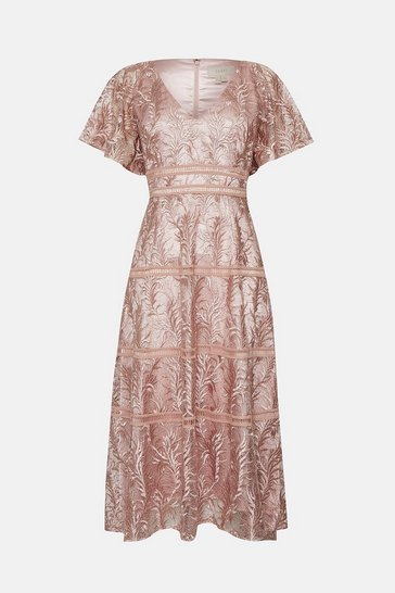 Pink Lace V Neck Midi Dress