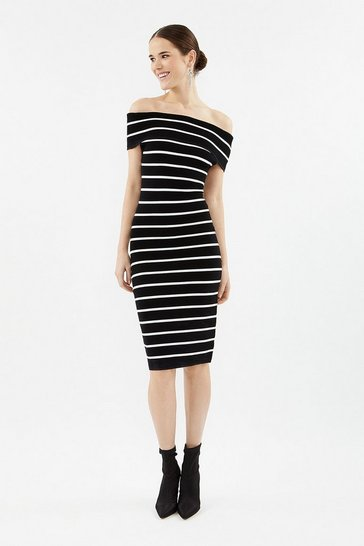 Black Stripe Knit Bardot Dress