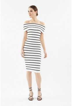 Ivory Stripe Knit Bardot Dress