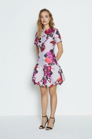 Pink Jacquard Puff Hem Dress