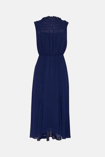Navy Shirred Top Maxi Dress