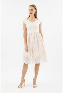 Blush Bardot Full Midi Dress