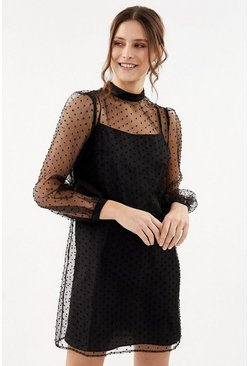 Black Polkadot Mesh Dress