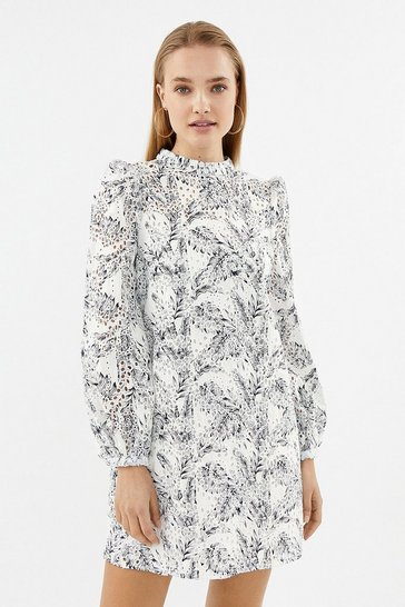 Ivory Long Sleeve Broiderie Dress