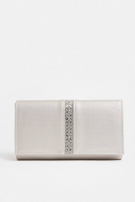 Silver Diamante Trim Clutch Bag