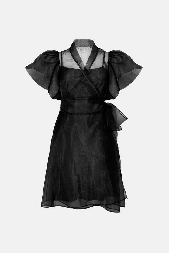 Black Short Sleeve Organza Wrap Dress