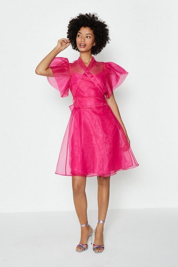 Pink Short Sleeve Organza Wrap Dress