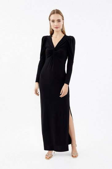 Black Long Sleeve Twist Front Maxi Dress
